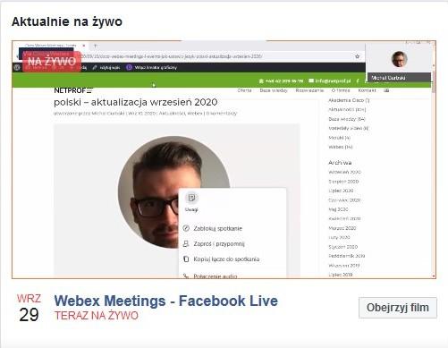 Streaming z Cisco Webex Meetings oraz Events do Facebook Live – przykład i konfiguracja