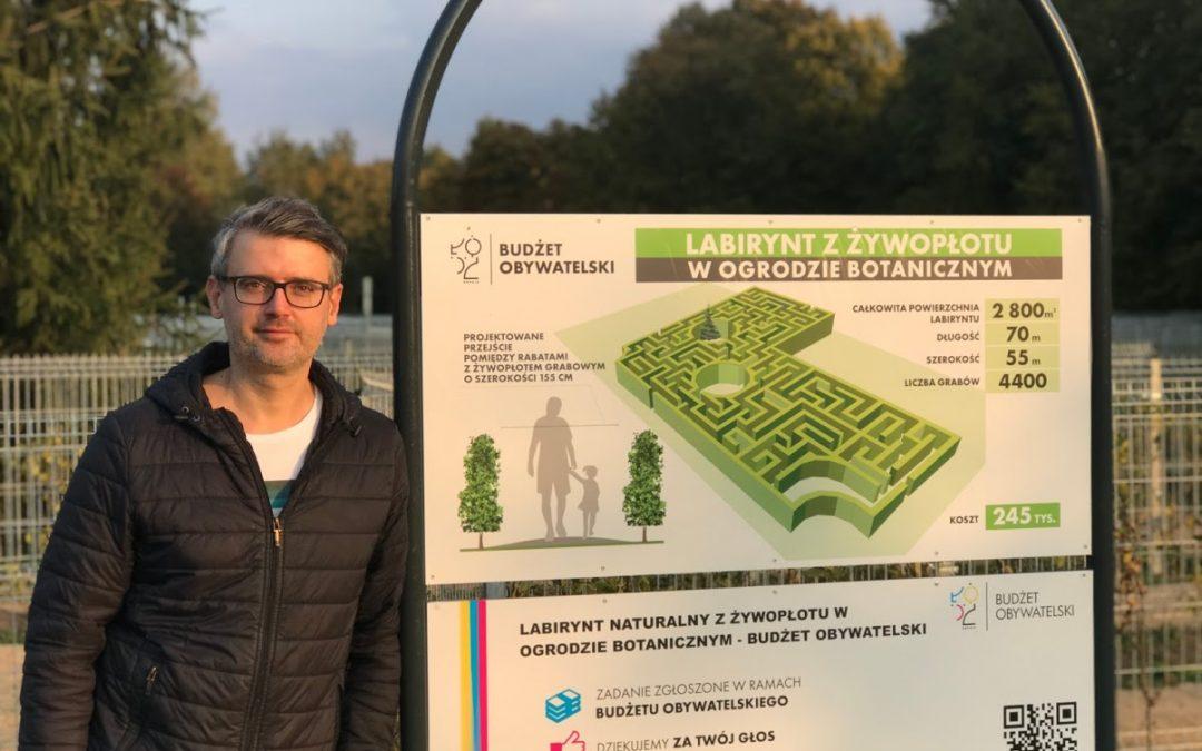 Labirynt naturalny z żywopłotu w Ogrodzie Botanicznym w Łodzi
